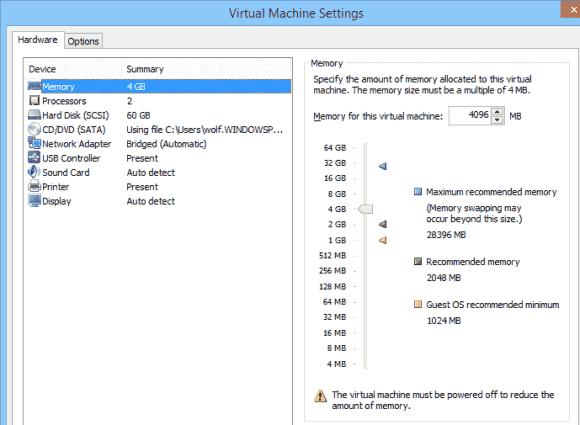 Hot-add von vRAM beherrscht die VMware Workstation schon länger.
