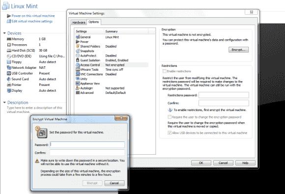 Wenn man eine VM verschlüsselt, kann man sie nur mehr nach Eingabe eines Passworts starten.