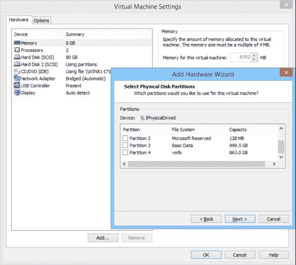 Ein virtualisiertes ESXi kann auch VMFS-Partitionen mounten.