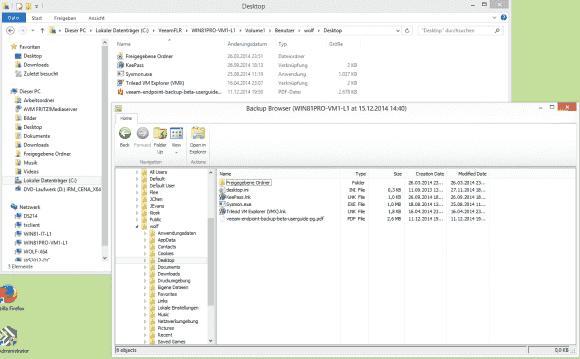 Das Backup-Image lässt sich in das lokale Dateisystem mounten, um einzelne Dateien oder Verzeichnisse wiederzuherstellen.