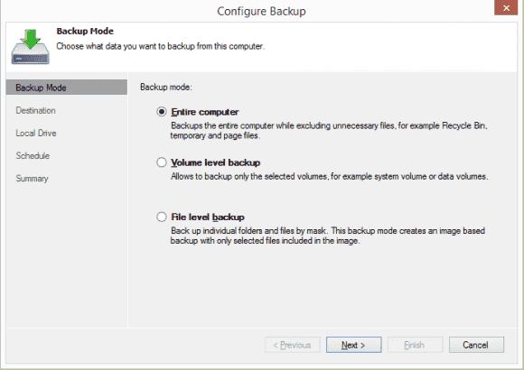 Bei der Konfiguration eines Backup-Jobs stehen 3 Modi zur Auswahl, deren Funktionen sich weitgehend überschneiden.