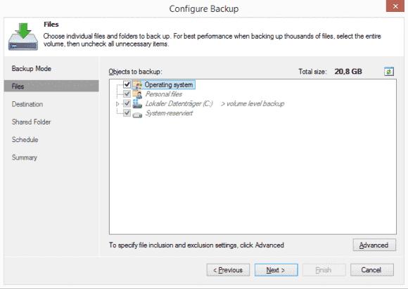 Wählt man beim File-Level-Backup alle Volumes und das Betriebssystem aus, dann entspricht es der Variante 'Entire Computer'.