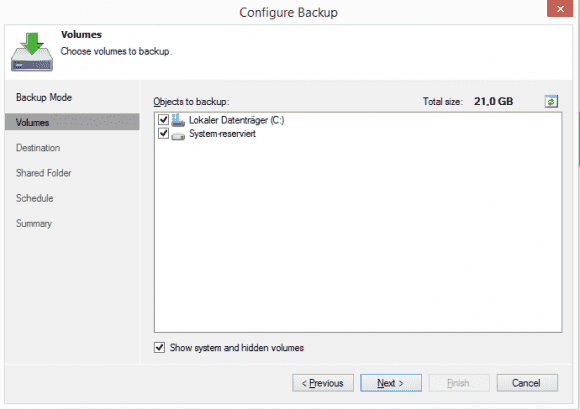 Auch das Volume-Level-Backup lässt sich als Sicherung des gesamten Systems konfigurieren.