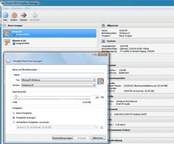Versierte Benutzer müssen beim Anlegen einer VM nicht mehr den Wizard durchlaufen.