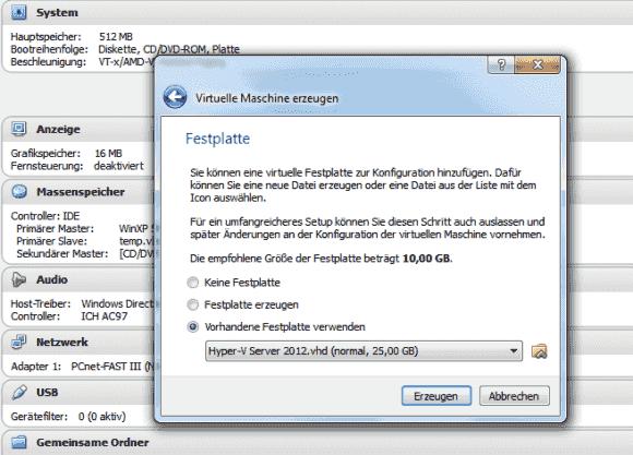 Der Wizard zum Erstellen einer neuen VM bietet die Möglichkeit, vorhandene VHDs zu übernehmen.
