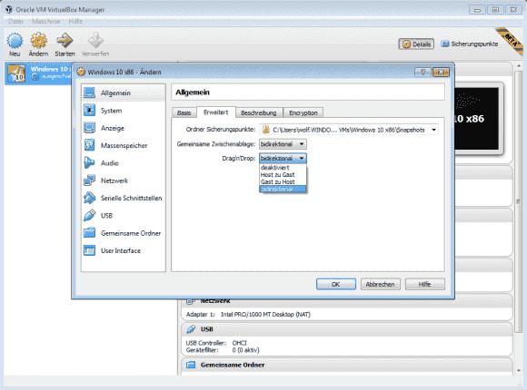 VirtualBox 5.0 unterstützt Drag and Drop zwischen Gast und Host nun auch mit anderen Systemen als Windows.