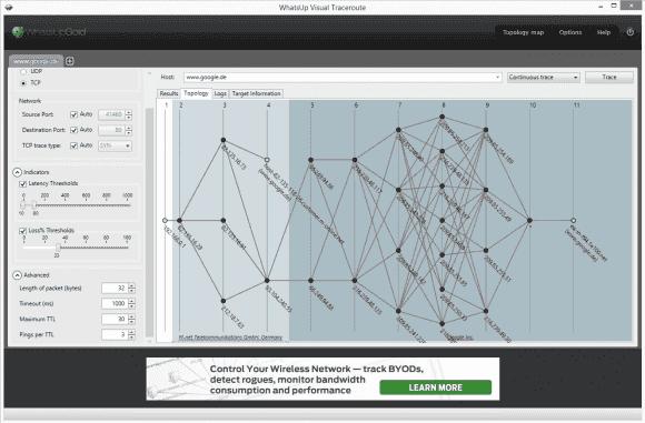 Die Darstellung der Topologie zeigt die verschiedenen Pfade zum Zielrechner, verzichtet aber auf die Angaben zur Latenz.