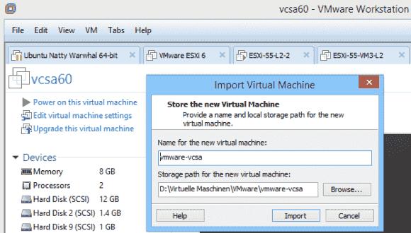 Nach dem Extrahieren aus dem ISO-Image kann man die OVA-Datei in die Workstation importieren.