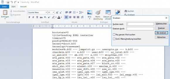 Anpassen der Konfigurationsdatei boot.cfg