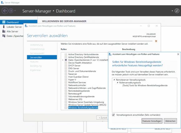 WDS-Rolle im Server Manager auswählen. Die Verwaltungs-Tool sollte man einschließen.