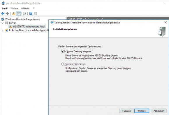 Auswahl zwischen WDS mit AD-Integration und Standalone-Installation.