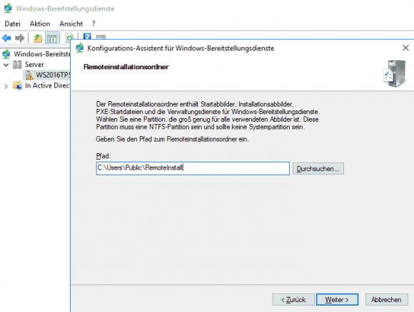 Der Ordner für die System-Images muss auf einem NTFS-Laufwerk liegen.