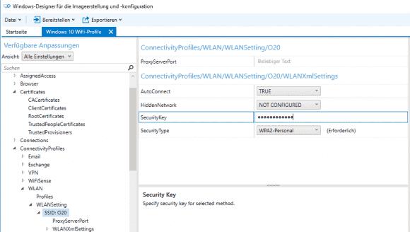 Unter den Laufzeiteinstellungen kann man unter anderem WLAN-Profile hinzufügen.