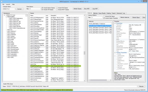 Einer der Vorzüge von WMI Explorer besteht darin, dass man innerhalb eines Fenster bis zu den Eigenschaften hinabsteigen kann.