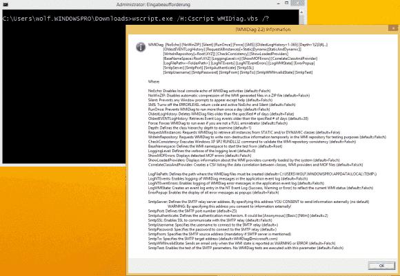 WMIdiag bietet zahlreiche Schalter, um die Tests zu konfigurieren. Ihre Beschreibung muss man in der .doc-Datei zusammensuchen.