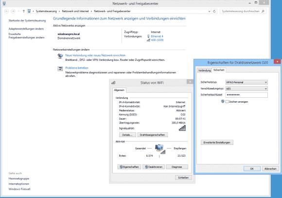 Lässt sich die Verbindung mit einem WLAN herstellen, so kann man den WPA2-Schlüssel über den Status-Dialog ändern. Scheitert die Anmeldung, dann steht diese Option nicht zur Verfügung.