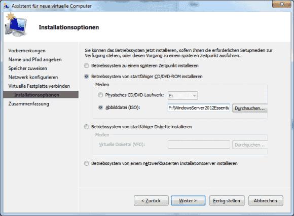 Wenn man das virtuelle CD-Laufwerk an die ISO-Installationsdatei bindet, startet das Setup nach dem Einschalten der VM.