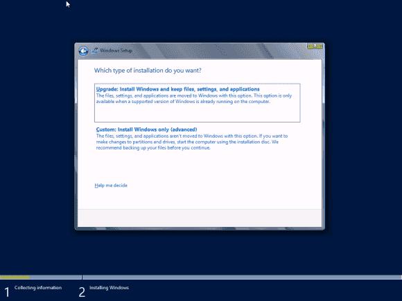 Bei der Installation in eine leere VM stellt sich die Upgrade-Frage eigentlich nicht, es funktioniert dort nur 'Custom Install'.