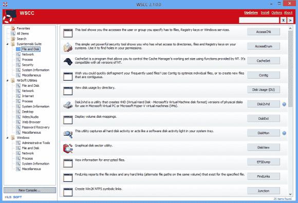 WSCC präsentiert die Beschreibung zu allen Programmen, bei Kommandozeilen-Tools zeigt es beim Start deren Hilfetext.