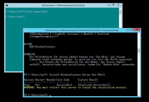 Von der Mager-GUI führt der Weg zur Vollinstallation über das Powershell-Cmdlet Install-WindowsFeature.