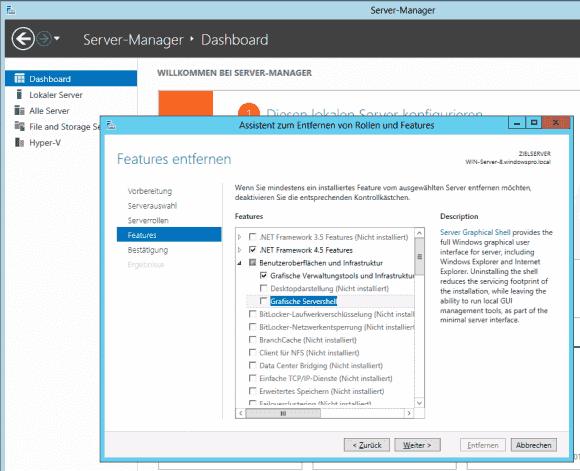 Die GUI-Features lassen sich unter Server 2012 (R2) mit Hilfe des Server Managers hinzufügen oder entfernen.