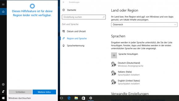 In Österreich fühlt sich Cortana nicht heimisch.