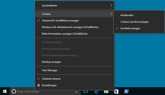 Die Option 'Cortana ausblenden' entfernt nur das Eingabefeld, die digitale Assistentin bleibt aktiv.