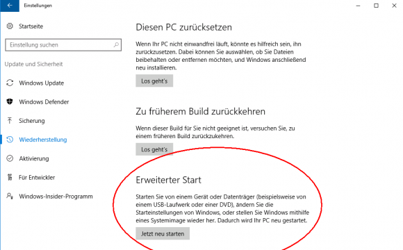 Neustart in das Windows Recovery Environment aus der App Einstellungen