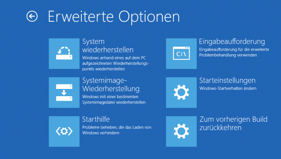 Starteinstellungen in Windows RE