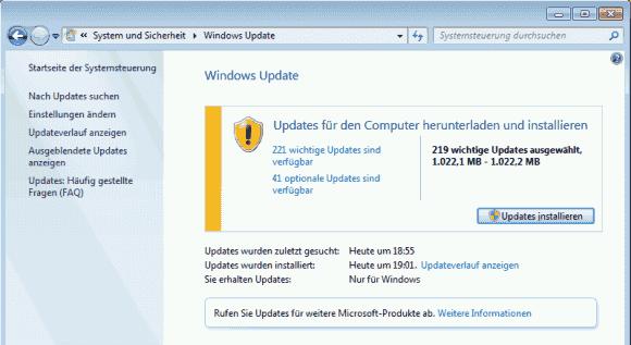 Der Download der wichtigen und empfohlenen Updates zog sich bisher über mehrere Stunden hin.
