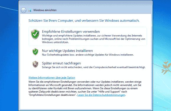 Bei der ersten Anmeldung kann man bereits die automatischen Updates deaktivieren.