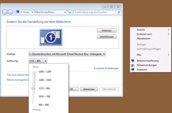 Im einfachen Sitzungsmodus lässt sich die Bildschirmauflösung auf gewohnte Weise ändern.