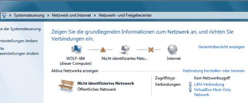 """Windows 7: """"Nicht identifiziertes Netzwerk"""""""