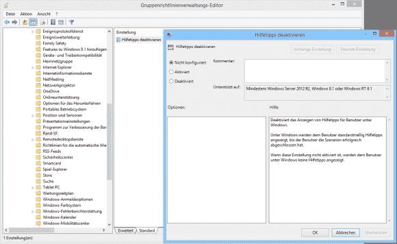 Die Einstellung gegen die Hilfe-Tipps findet sich unter Windows-Komponenten => RandUI.
