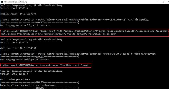 Package für PowerShell zu WinRE hinzufügen von DISM und WIM-Bereitstellung beenden.