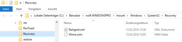 An winre.wim gelangt man, nachdem DISM das Archiv install.wim gemountet hat.