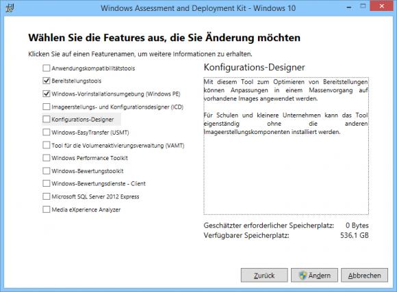 Der Nano Server Image Builder benötigt das Windows ADK.