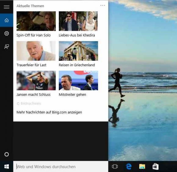 Schaltet man Cortana ab und belässt die Web-Suche, dann okkupiert Bing News den Platz des Assistenten.