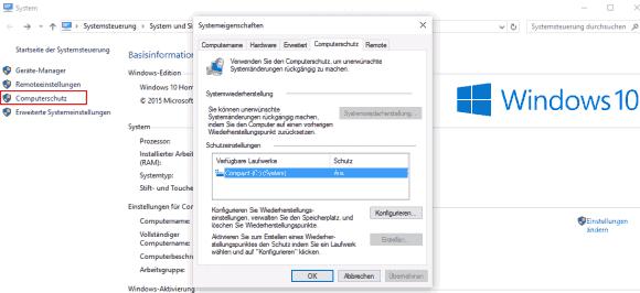 Unter Windows 10 sind Wiederherstellungspunkte per Voreinstellung deaktiviert.