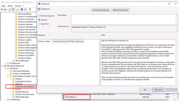 Über die Einstellung Startlayout lässt sich die XML-Datei mit dem Vorgabe-Layout verteilen.