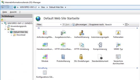 Die Anpassung der WWW-Dienste und der Websites erfolgt mit dem IIS-Manager.