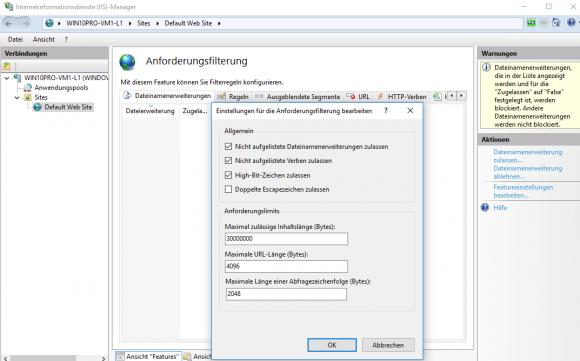 Die Anforderungsfilter erlauben das White- und Blacklisting von Dateitypen.