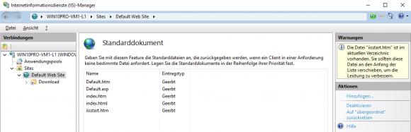 Standarddokument bestimmt, nach welchen Dateien der Web-Server in einem Verzeichnis automatisch sucht.