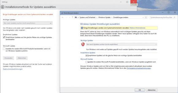 Mit dem Script lassen sich automatische Updates abschalten, eine Auswahl der Update-Methode über die GUI ist dann nicht möglich.