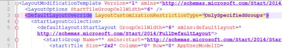 Anpassen der XML-Datei für das Start-Layout
