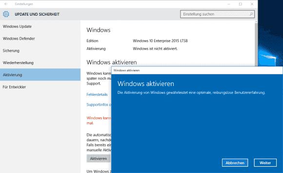 Nach der Eingabe eines neuen Lizenzschlüssels kann man Windows 10 gleich aktivieren.