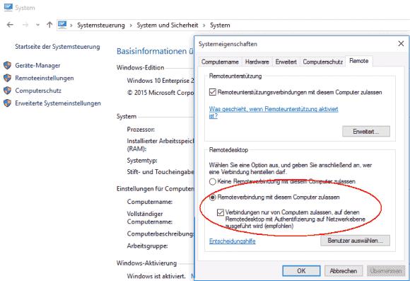 Remotedesktop-Verbindungen aktiviert man wie gehabt über die Systemsteuerung, die App Einstellungen ist dazu nicht in der Lage.