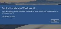 Fehler beim Setup von Windows 10