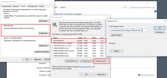Standardprofil von Windows 10 in das Netlogon-Verzeichnis eines DC kopieren.