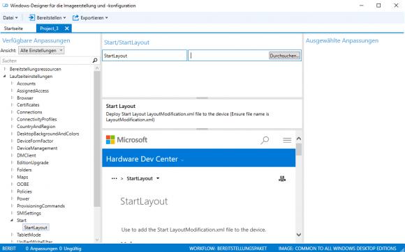 Festlegen des Taskbar-Layouts im Imaging and Configuration Designer.